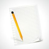Pencil and note sheet Stock Photography