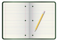 Pencil on notebook. Computer generated illustration: yellow pencil on a notebook Royalty Free Stock Photo