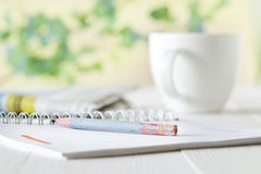 Pencil notebook and coffee Royalty Free Stock Photography