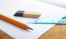 Pencil notebook and eraser Royalty Free Stock Photo