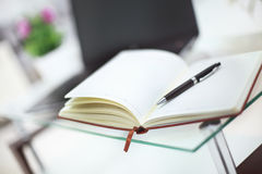 Pencil and notebook on laptop for business concept. In office Royalty Free Stock Photography
