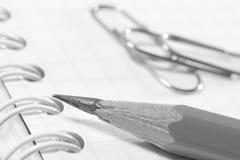 Pencil on notebook sheet Royalty Free Stock Photos