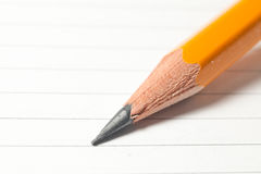 Pencil on notebook sheet Stock Photo