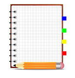 Pencil and notebook, on a white background Royalty Free Stock Photography