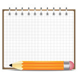 Pencil and notebook, on a white background Stock Image