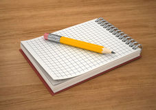 Pencil on notebook Royalty Free Stock Images