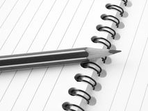 Pencil with notepad Stock Image