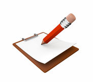 Pencil and notepad. Writing on a notepad with pencil. isolated over white background Royalty Free Stock Photos