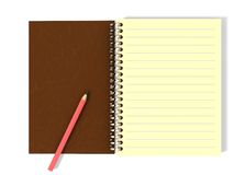 Pencil on notepad. Illustration of notepad with pencil on it Stock Image