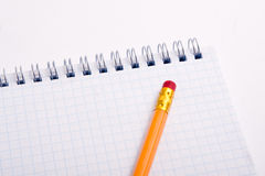 Pencil on the notepad composition Stock Photography