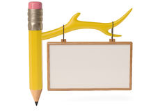 Pencil and notice board,3D illustration. Stock Image