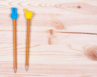 Pencil on old wood desk Royalty Free Stock Photo