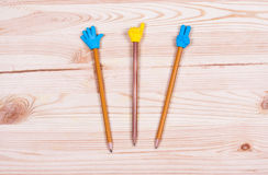 Pencil on old wood desk Stock Image