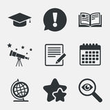 Pencil and open book signs. Graduation cap icon. Royalty Free Stock Photography