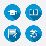 Pencil and open book signs. Graduation cap icon Royalty Free Stock Photo