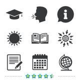 Pencil and open book signs. Graduation cap icon. Stock Photos