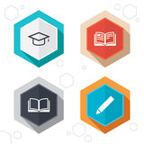 Pencil and open book signs. Graduation cap icon Royalty Free Stock Images
