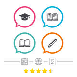 Pencil and open book signs. Graduation cap icon. Royalty Free Stock Images