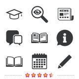 Pencil and open book signs. Graduation cap icon. Stock Photo