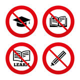 Pencil and open book signs. Graduation cap icon Stock Photo