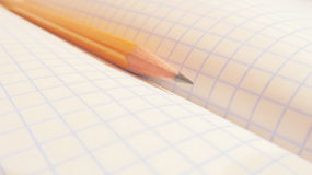 Pencil. In an open notebook in the box Royalty Free Stock Photography