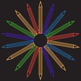 Pencil outline background, stationery illustration Stock Photography