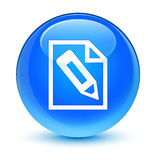 Pencil in page icon glassy cyan blue round button Stock Images