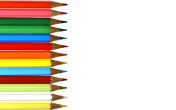 Stationery viewing,stationery picture, stationery image,Pencil,palette,color. Colors arranged on a white background lined sorted in various ways Stock Photos