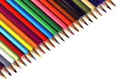 Stationery viewing,stationery picture,stationery image,office material picture,coloring tools picture. Colors arranged on a white background lined sorted in Royalty Free Stock Images