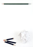 Pencil on paper. Broken pencil and crumpled paper. Pattern Royalty Free Stock Photography