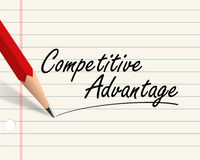 Pencil paper - advantage. Illustration of pencil and paper written with word competitive advantage stock illustration