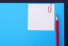 Pencil, paper, clip, sticker Stock Images