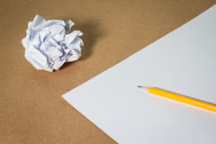 Pencil on paper and crumpled paper. Business frustrations, Job stress and Failed exam concept. Stock Photo