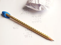 Pencil, paper and examples Royalty Free Stock Photography
