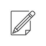 Pencil and paper line icon. Outline vector sign, linear style pictogram isolated on white. Write, edit symbol, logo illustration. Editable stroke. Pixel Stock Photos