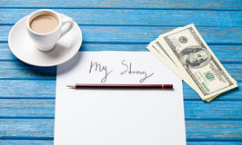 Pencil and paper with My Story inscription near cup of coffee Royalty Free Stock Photo