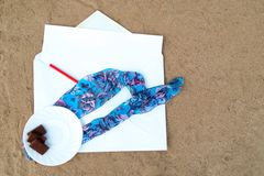 Pencil and Paper note on Beach Royalty Free Stock Image