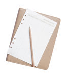 Pencil and paper on note book Royalty Free Stock Photos