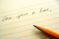 Pencil, paper, and opening line Royalty Free Stock Photo