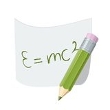 Pencil with paper page with formula. Royalty Free Stock Photo
