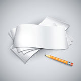 Pencil by the paper sheets. Stock Image