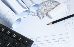 Pencil. On the paper,workplace of architect Stock Photos
