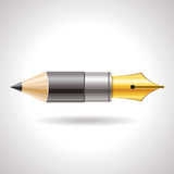 Pencil and pen. Pencil with pen on white background Stock Photo