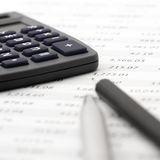 Pencil, pen and calculator close-up Royalty Free Stock Photo