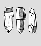 Pencil pen and cutter. Hand drawn vector illustration or drawing of a cartoon pencil, pen and cutter Royalty Free Stock Photos