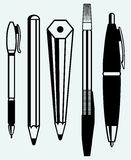 Pencil, pen and fountain pen icons Stock Photos