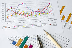 Pencil and pen on graph paper Royalty Free Stock Photo