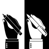 Pencil and pen in hand. Man holding a pencil and pen, set. Vector illustration, flat design. Writer, journalist, student. Writing. Black and white icons Royalty Free Stock Images
