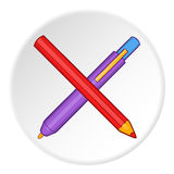 Pencil and pen icon, cartoon style Royalty Free Stock Image