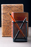 Pencil and pen with organizers Royalty Free Stock Photography